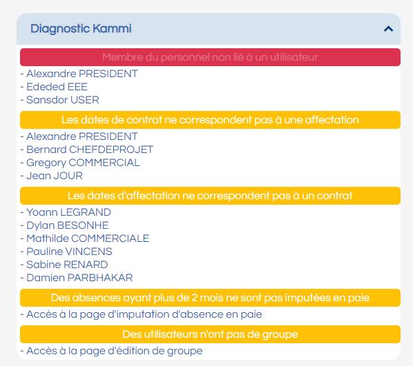 Image d'un écran d'un diagnostic Kammi