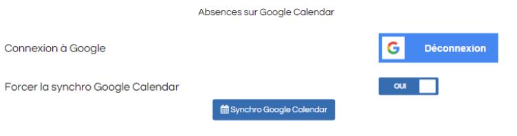 Screenshot pour la synchronisation des absences avec Google Calendar