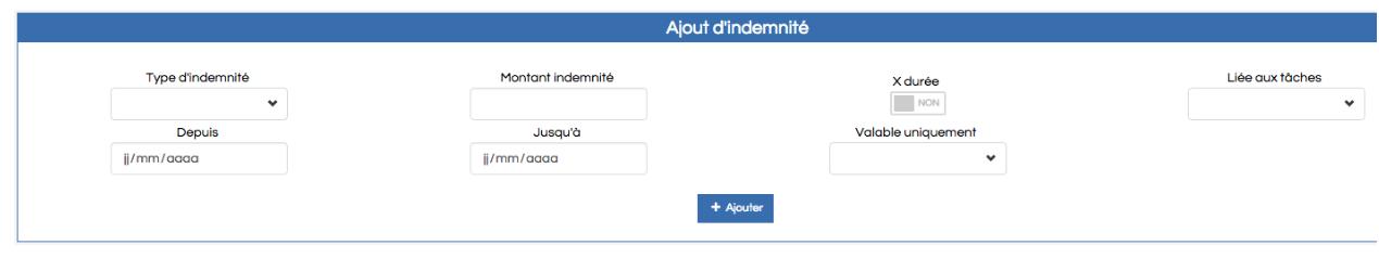 Screenshot de l'écran ajout d'indemnités