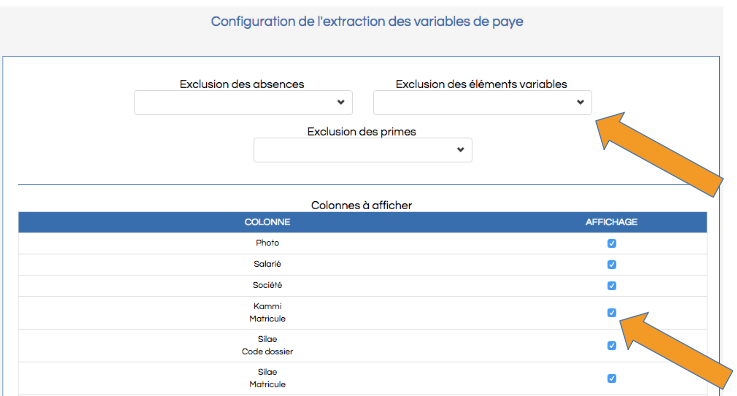 Screenshot de l'écran de configuration des variables de paie