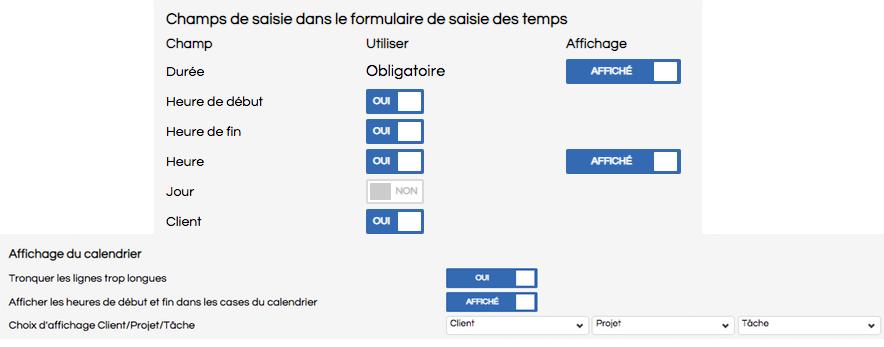 Screenshot d'une partie de l'écran de configuration
