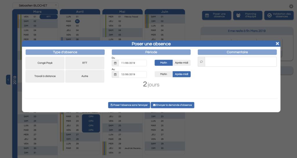 Screenshot d'une demande d'absence
