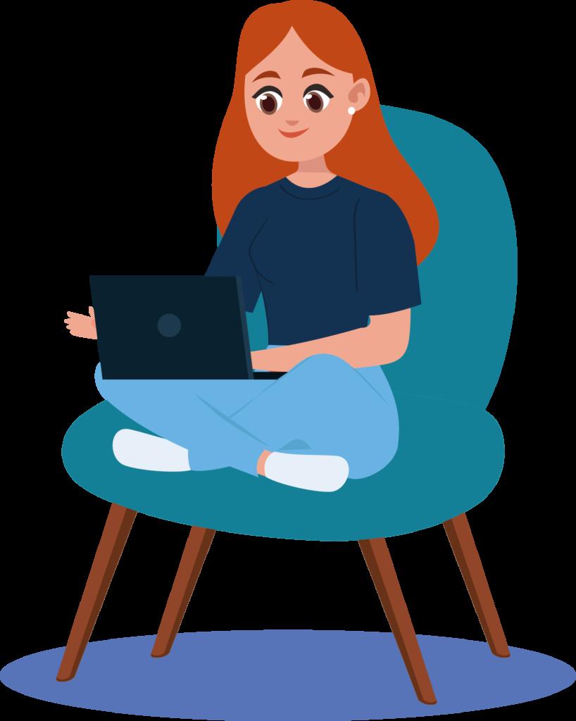 Camille travaille simplement sur son ordinateur